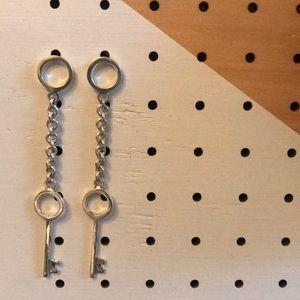 Handmade Silver Key earrings